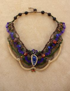 Micro Macrame Organic Victorian Statement Aristocratic Necklace with Lapis Lazuli, Tiger Iron, Tiger Eye, Jasper, and Seed. $400.00, via Etsy.