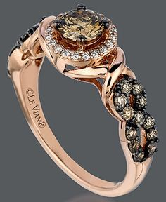If I were the kind of girl who was into expensive jewelry, I would be a chocolate diamond and rose gold girl.Le Vian Rose Gold Ring, Chocolate and White Diamond Ring Diamond Jewelry, Gold Jewelry, Jewelry Rings, Jewelry Accessories, Fine Jewelry, Jewelry Watches, Jewellery, Levian Chocolate Diamond Ring, White Diamond Ring