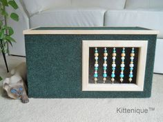 Beaded Cat House. The perfect place for your cat to hide, play and sleep.  https://www.etsy.com/listing/224549151/green-beaded-cat-house-wooden-cat?ref=listing-shop-header-3
