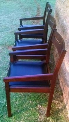 Chairs, Stools & Footstools - 3 x Vintage, Art Deco Style Chairs in Solid Darkwood. One bid for All. View Pictures for sale in Vereeniging (ID:204635339)