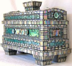 "Lin Schorr Mosaic Box ""Atlantis"" ( iridescent vitreous tiles,  tempered glass, glass beads,  metal beads, green jasper,  abalone shell, acrylics & mica's) http://linschorr.com/artwork/384696_of_Atlantis.html"