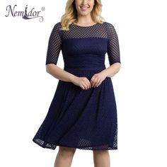 4c06036d48aba dotty Plus Size Retro Swing Dress polka Dot Half Sleeve Lace Summer Party  A-line Dress 1950 Style Vintage O-neck blue red sheer