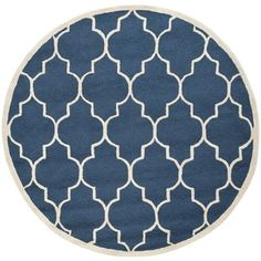 Safavieh Handmade Moroccan Cambridge Navy/ Ivory Wool Rug (10' Round) | Overstock™ Shopping - Great Deals on Safavieh Round/Oval/Square