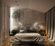 dormitorio en gris muy bien iluminado