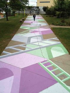 Urban heroes like Peter Gibson, aka Roadsworth, that resuscitate the city with their vibrant street art. Street Mural, 3d Street Art, Street Artists, City Landscape, Urban Landscape, Landscape Architecture, Community Places, Graffiti, Street Painting