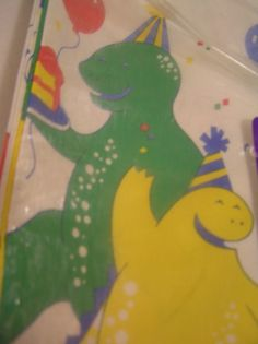 Vintage Tablecover Paper  Party Dinosaurs C A by SevenSistersBooks