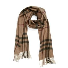 Women's Burberry Heritage Giant Check Fringed Cashmere Muffler (€390) ❤ liked on Polyvore featuring accessories, scarves, checkered scarves, burberry, cashmere shawl, burberry scarves and fringe scarves