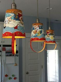 Kim's Beach House - kids vintage pails for lights. So Cute.