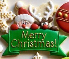 Santa Banner Cookie and Fondant Cutter Cookie Frosting, Royal Icing Cookies, Sugar Cookies, Santa Cookies, Holiday Cookies, Decorator Frosting, Christmas Cookie Cutters, Fondant Toppers, Cookie Decorating