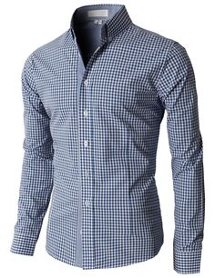 $33.99 Doublju Men's Casual Stripe Patterned Button Down Shirts With Long Sleeves (KMTSTL0121)