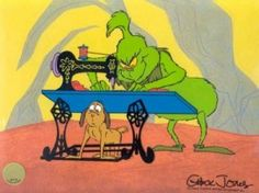 The Old Sew & Sew / / The Grinch / Hand Painted Limited Edition Cels / Animation Connection / Cartoon Art / Cels (Cells) / Online Sales Mr Grinch, The Grinch Movie, Grinch Party, Grinch Christmas Decorations, Grinch Stole Christmas, Merry Little Christmas, Grinch Coloring Pages, Quilting Projects, Sewing Projects