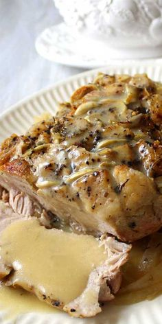 something expecting special creamy werent turned normal garlic roast white gravy this that even blah This Garlic Herb Pork Roast and Creamy White Wine Gravy turned a normal blah day into something speYou can find Pork recipes and more on our website Pork Tenderloin Recipes, Pork Recipes, Cooking Recipes, Pork Chops, Recipes With Pork Roast, Pork Tenderloin Marinade, Chicken Recipes, Recipies, Pork Tenderloins
