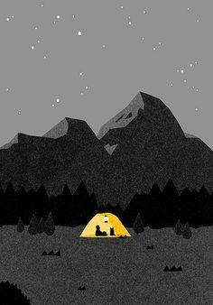 yama03   Itsuko Suzuki   Flickr Night Illustration, Mountain Illustration, Graphic Design Illustration, Graphic Art, Tent Drawing, Camping Drawing, Night Sky Drawing, Night Sky Painting, August 15