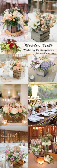 Rustic country wooden crate wedding centerpieces / http://www.deerpearlflowers.com/rustic-woodsy-wedding-trend-2018-wooden-crates/ #rusticweddings #countryweddings