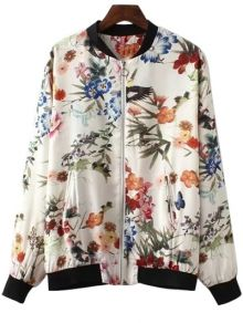 Full Floral Stand Neck Long Sleeve Jacket