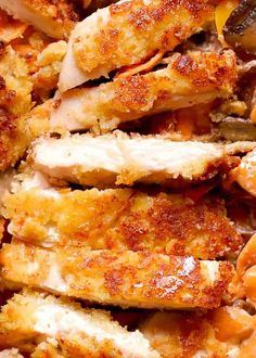 Parmesan Crusted Chicken, pan-fried chicken breast, skillet fried breaded chicken, perfect with pasta as a weeknight dinner or in chicken salads Fried Chicken Parmesan, Pan Fried Chicken, Breaded Chicken, Chicken Parmesan Recipe Without Bread Crumbs, Bread Crumb Chicken, Chicken Cutlets, Chicken Breasts, Cooking Recipes, Healthy Recipes