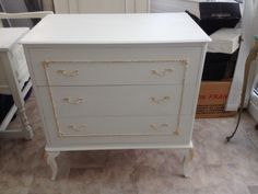 Shabby chic chest of drawers, Autentico chalk painted, gold leaf added then a wax finish, workshop 1 £69 create your own new piece of furniture :)