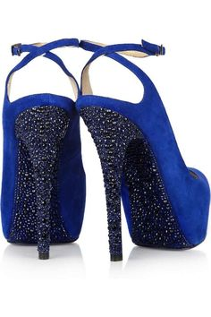 Jimmy Choo Colbalt Blue Crystal Encrusted Pumps...Wow