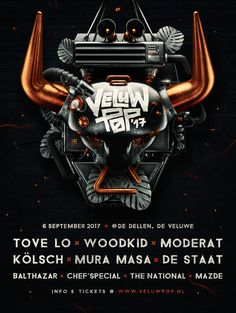 """Poster reworked for one of our clients VeluwPop.VeluwPop is a Dutch music festival in the nature reserve called """"Veluwe""""The model was completely modeled in Cinema4D and rendered with Vray. Post effects and logo's have been made with Photoshop and Illus…"""