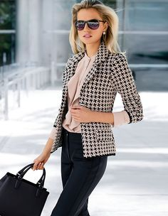 Damen Strickblazer im Hahnentritt-Dessin   MADELEINE Mode
