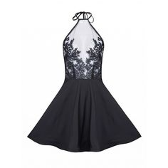 Choies Black Halter Embroidery Detail Sheer Overlay Skater Dress ($19) ❤ liked on Polyvore featuring dresses, black, sheer dress, halter strap dress, overlay dress, halter-neck tops and sheer halter top