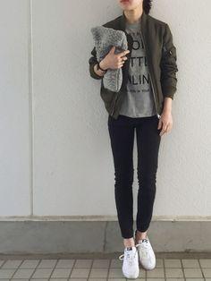 Denimeのミリタリージャケットを使ったm!さんのコーディネートです。│MA-1+Tシャツ