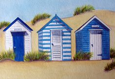 Beach Huts | original watercolours