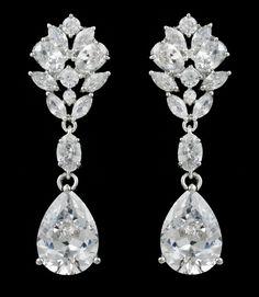 c06f7d272 Affordable Elegance Bridal - Multi Cut CZ Pear Drop Wedding Earrings in  Pierced or Clip On