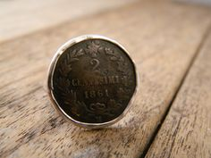 Antique Coin Ring Italian Italy Sterling Silver Big Statement Oversized Handmade Copper Bronze Coin Artisan Fine Jewelry on Etsy