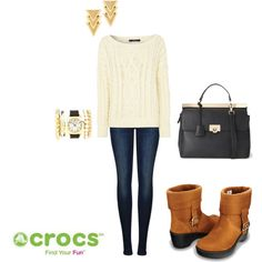 """""""Golden for Winter"""" by crocsshoes on Polyvore. Keep cozy and stylish this winter with the Crocs cobbler ankle booties #Crocs #Booties #Boot #winter #brown"""