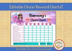 Kids Chore Charts, Childrens Chore Charts, Reward Charts, Responsibility Charts, Editable, Printable, Princess Name Tracing Worksheets, Writing Worksheets, Worksheets For Kids, Learn To Spell, Learn To Count, Chore Chart Kids, Chore Charts, Responsibility Chart, Kindergarten Blogs