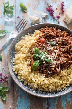 """One-pot"" pasta - Ida Gran Jansen One Pot Pasta, Bolognese, Couscous, Fried Rice, Quinoa, Meat, Parmesan, Ethnic Recipes, Food"