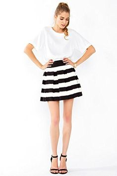 The Sugarlips Statement Stripe Skirt is a fun and flirty textured stripe skater skirt. Exposed zipper closure on back. Looks cute paired with a crop graphic T-shirt and ankle boots. Price : $56.00 #MyLuluCloset #Sugarlips #Skirts