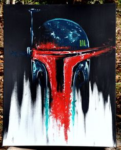 "Bounty Hunter Boba Fett Star Wars inspired Original Painting (acrylic on canvas, 16""x20"")."