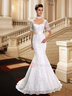 Tidebuy.com Offers High Quality  Sweetheart Beaded Lace Appliques Short Sleeve Mermaid Wedding Dress, We have more styles for Lace Wedding Dresses