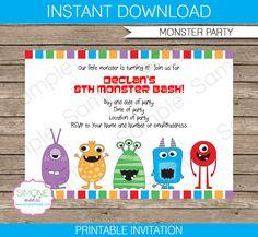 Monster Birthday Party Invitations & Decorations von SIMONEmadeit