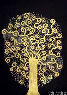 Kids Artists: Tree of life, in the style of Gustav Klimt-could use various colors of metallic paint and sequins or jewels, also!