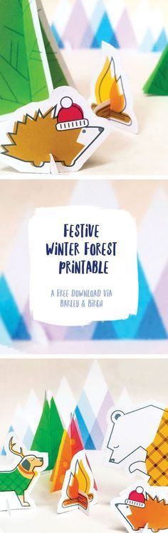 A cute and colorful free printable play forest for kids play and holiday decoration I via barley & birch