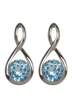 Liberty Jewelry Sterling Silver Blue Topaz Infinity Post Earrings