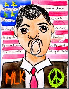 Martin Luther King, Jr. art project  Crayon resist |Pinned from PinTo for iPad|