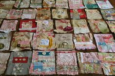 patchwork of embroidered memories for coverlet, curtains, pillows, etc. Textiles, Embroidery Stitches, Hand Embroidery, Quilting Projects, Sewing Projects, Stitch Book, Fabric Journals, Fabric Art, Fabric Books