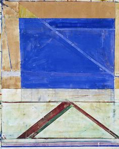 Richard Diebenkorn - Untitled (Ocean Park Drawing) Acrylic, gouache, crayon, pasted paper 29 3/4 x 24 in.