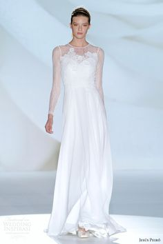 Jesus Peiro wedding dress 2015 barcelona bridal week, long lace sleeves and floral appliques.
