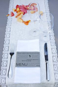 Menu around napkins.