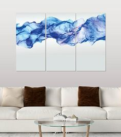 Artistic Blue Smoking Wave Wall Canvas Art Painting - ON SALE!