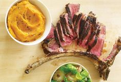 Tomahawk Chops with Sweet Potato Puree