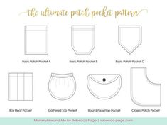 Sewing For Kids Ultimate Patch Pocket Pattern - Add pockets to any garment! - Play around with the various shapes, create new ones and add dimension and functionality to your garments with this Ultimate Patch Pocket Pattern! Sewing Basics, Sewing For Beginners, Sewing Hacks, Sewing Tutorials, Sewing Projects, Sewing Tips, Sewing Lessons, Love Sewing, Sewing For Kids