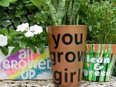 Use peel-and-stick letters to create messages on planters and flower pots >> http://www.diynetwork.com/how-to/make-and-decorate/crafts/how-to-make-flower-pots-with-words?soc=pinterest