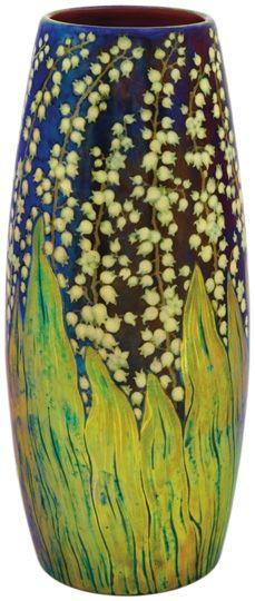 GREAT COLOR PATTERN AND CONTRAST Zsolnay - Váza, gyöngyvirágos dekorral, Zsolnay, 1898
