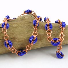 Chainmaille Necklace Purple and Copper